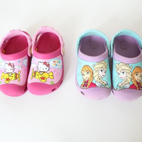 583facf85a888 CROCS Shoes | Lot Of 2 Toddler 89 Hello Kitty Frozen | Poshmark
